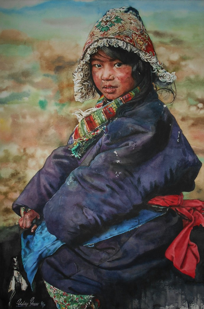 The boy by Uday Bhan, Impressionism Painting, Watercolor on Paper, Blue color