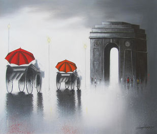 india gate by Somnath Bothe, Impressionism Painting, Charcoal on Canvas, Gray color