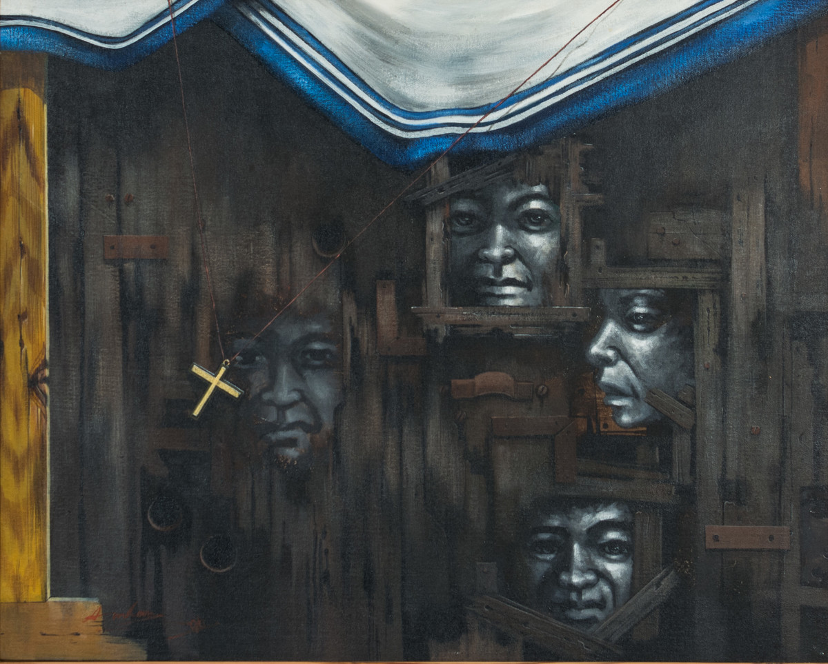 Faces by Amlan Dutta, Expressionism Painting, Acrylic on Board, Gray color