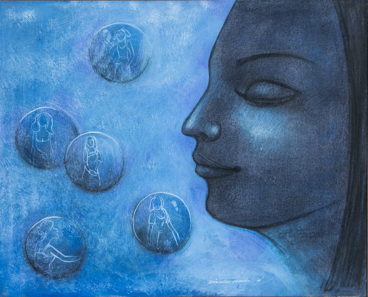Thoughts by Dipankar Chanda, Expressionism Painting, Acrylic on Canvas, Blue color