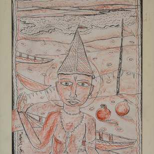 Childhood by Manoj Dutta, Illustration Painting, Mixed Media on Paper, Brown color