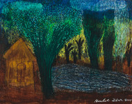 Amidst Nature by Ramlal Dhar, Expressionism Painting, Acrylic on Canvas, Green color