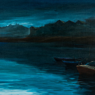 The lake by Subrata Paul, Impressionism Painting, Canvas on Board, Blue color