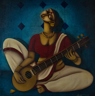 The Entertainer by Pintu Paul, Expressionism Painting, Acrylic on Canvas, Blue color