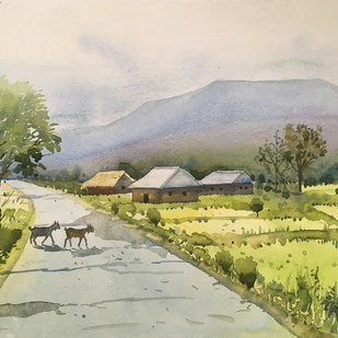 small village by SOUMI JANA, Impressionism Painting, Watercolor on Paper, Green color