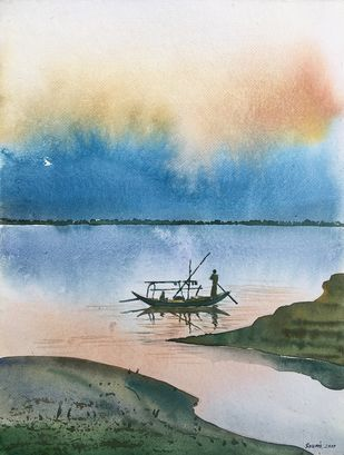 river series 1 by SOUMI JANA, Impressionism Painting, Watercolor on Paper, Beige color