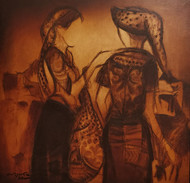 untitled by Vrindavan Solanki, Illustration Painting, Oil on Canvas, Brown color