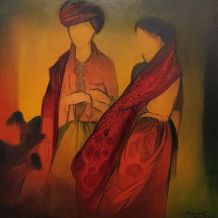 untitled by Vrindavan Solanki, Expressionism Painting, Oil on Canvas, Brown color