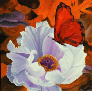 Flower with butterfly -5 by Sulakshana Dharmadhikari, Expressionism Painting, Oil on Canvas, Brown color