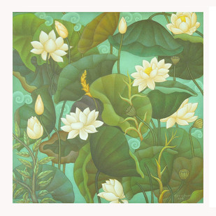 A Lotus by Roy K John, Expressionism Painting, Acrylic on Canvas, Green color