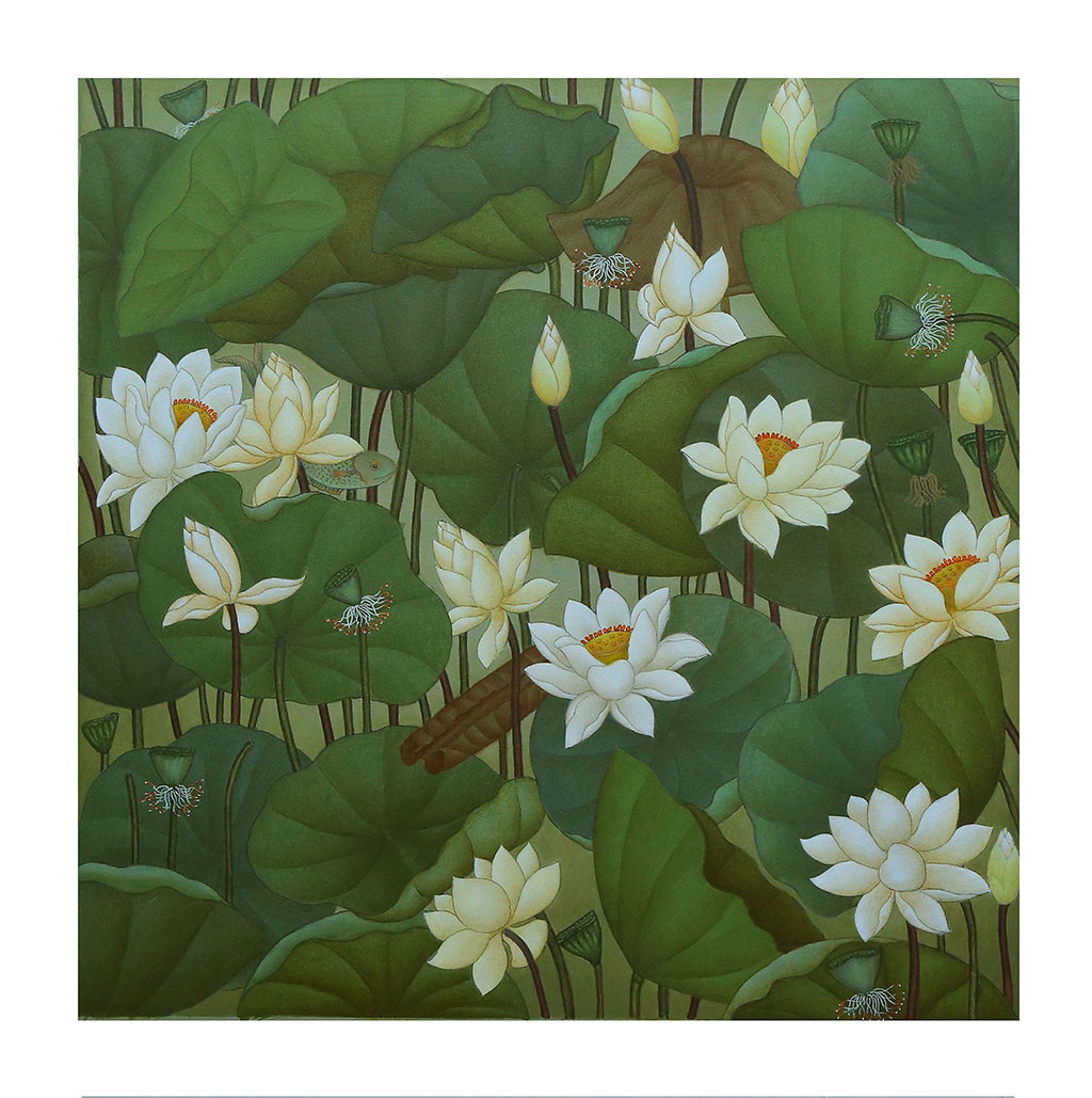 lotus pond by Roy K John, Traditional Painting, Acrylic on Canvas, Green color