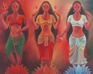 SHAKTHI-LAKSHMI-SARASWATI by Manisha Raju, Traditional Painting, Acrylic on Canvas, Brown color