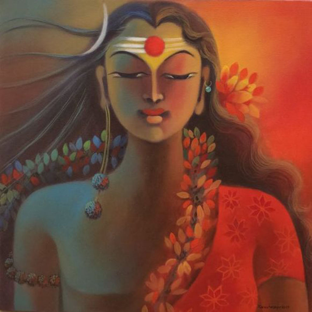 ARSHANARISHVAR by Manisha Raju, Traditional Painting, Acrylic on Canvas, Brown color