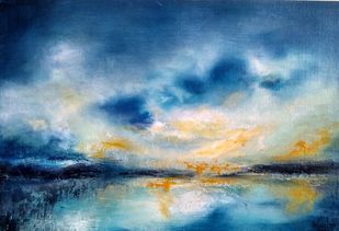 "Seeking solace 22""x15"" blue contemporary skyscape by Vandana Mehta, Expressionism Painting, Oil on Canvas Board, Blue color"
