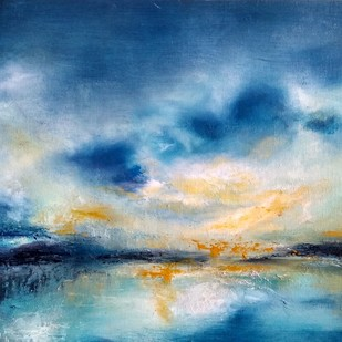 "Seeking solace 22""x15"" blue contemporary skyscape Digital Print by Vandana Mehta,Expressionism"