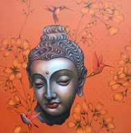 Buddha 1 by Sujit Karmakar, Expressionism Painting, Acrylic on Canvas, Brown color