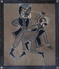 Bengal Style Scroll Art by Unknown Artist, Folk Painting, Watercolor on Paper, Gray color