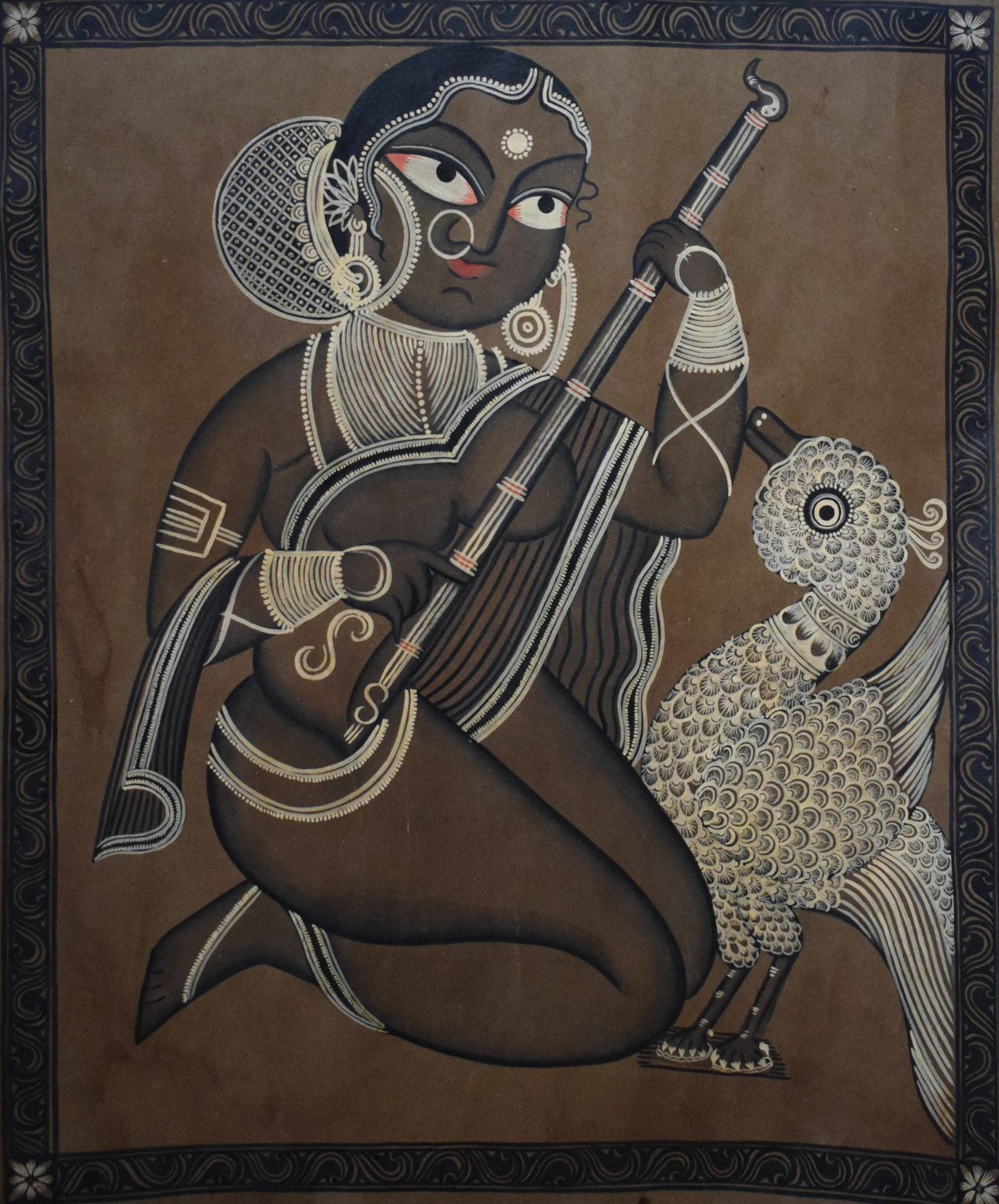 Bengal Style Scroll Art by Unknown Artist, Folk Painting, Watercolor on Paper, Brown color