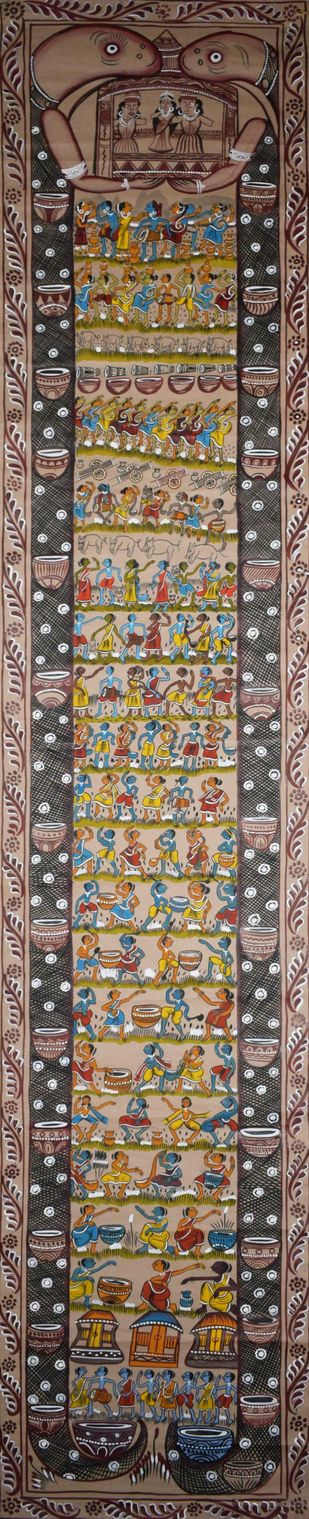 Bengal Scroll Art by Unknown Artist, Folk Painting, Watercolor on Paper, Brown color