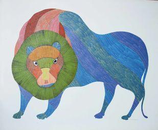 Gond art by Gariba Singh Tekam, Tribal Painting, Acrylic on Paper, Cyan color