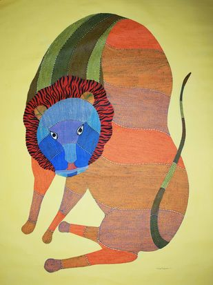 Gond art by Gariba Singh Tekam, Tribal Painting, Acrylic on Canvas, Beige color