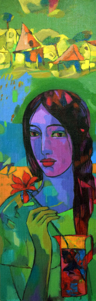 village girl by Avinash Mokashe, Expressionism Painting, Acrylic on Board, Green color