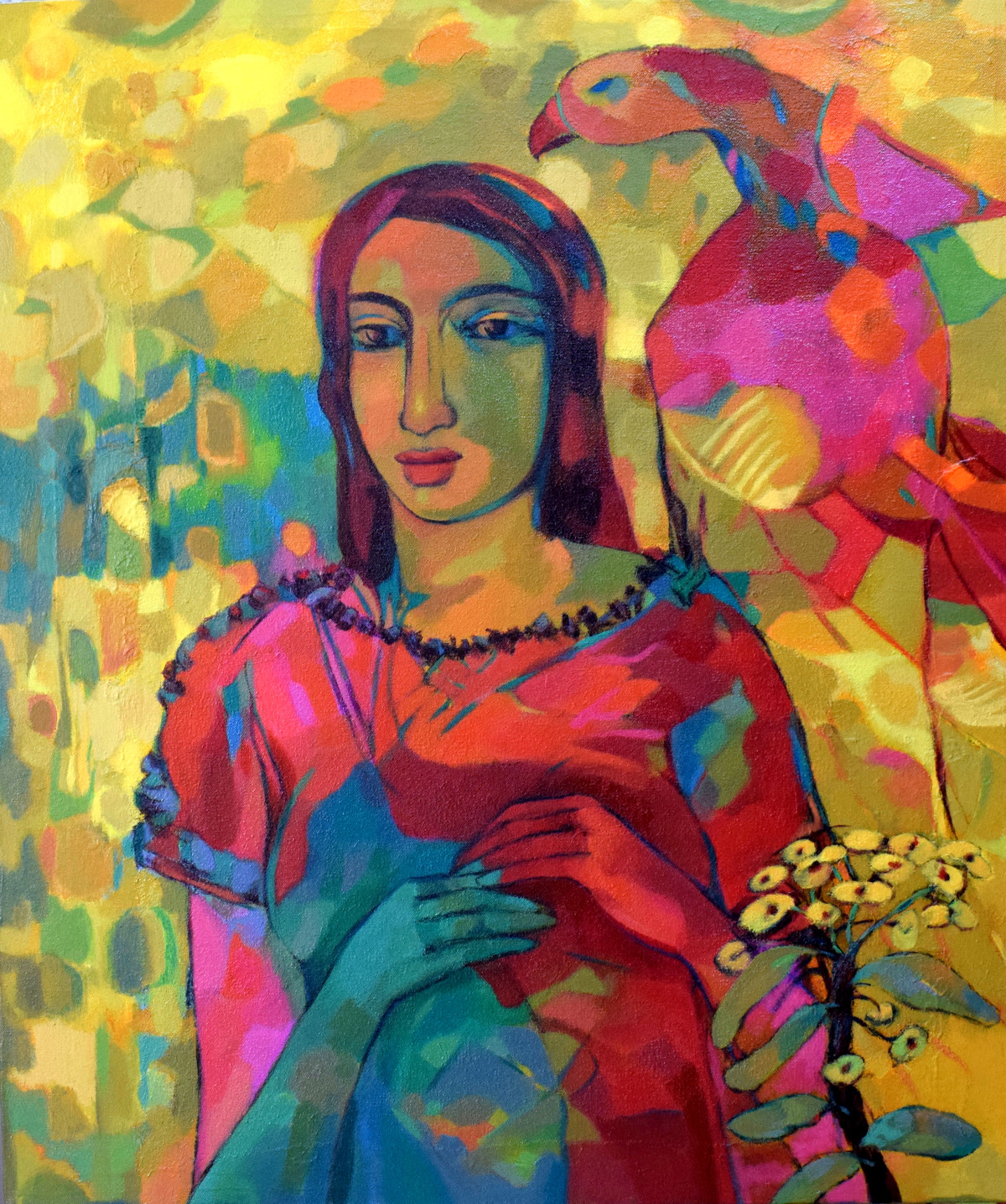 village girl -2 by Avinash Mokashe, Expressionism Painting, Acrylic on Canvas, Brown color