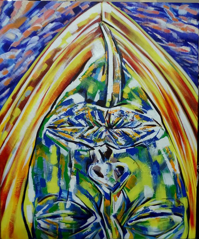 Dream_1 by Abhishek Shrivastava, Fantasy Painting, Acrylic on Canvas, Green color