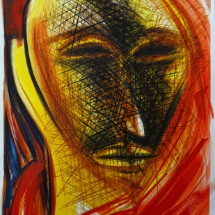 Face by Abhishek Shrivastava, Expressionism Drawing, Acrylic & Ink on Paper, Brown color
