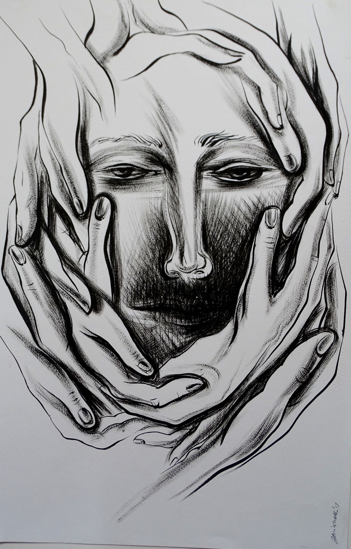 I want you...I want you_1 by Abhishek Shrivastava, Expressionism Drawing, Ink on Paper, Gray color