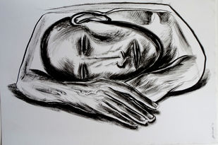 Rest by Abhishek Shrivastava, Expressionism Drawing, Ink on Paper, Gray color