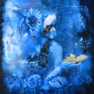 Acting by Shambhu Nath Goswami, Conceptual Painting, Acrylic on Canvas, Blue color