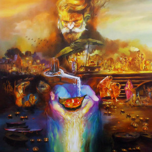 Har Har Mahadev by Shambhu Nath Goswami, Traditional Painting, Acrylic on Canvas, Brown color