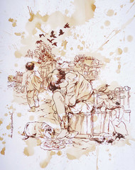 Struggle for Survival by Shambhu Nath Goswami, Illustration Painting, Watercolor on Paper, Gray color