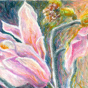Magnolia series 1 by Shalini Sinha, Impressionism Painting, Pastel on Paper, Pink color