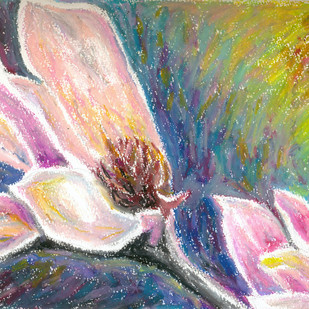 Magnolia series 3 by Shalini Sinha, Impressionism Painting, Oil Pastel on Paper, Pink color