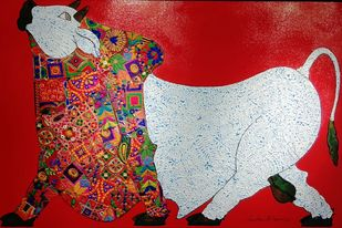 Bull by Sreekanth Kurva, Expressionism Painting, Mixed Media on Canvas, Red color
