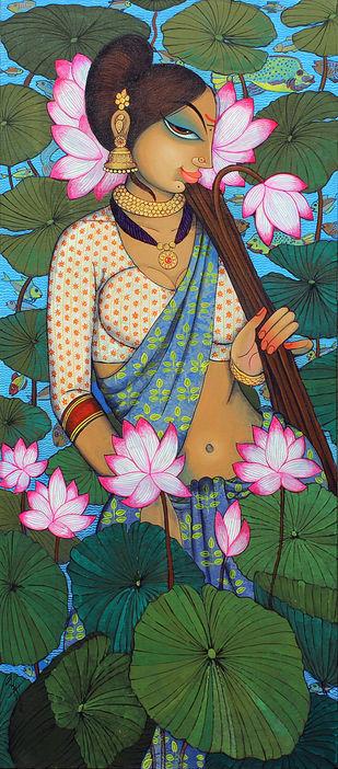 Rhythmic beauty with lotus... by Varsha Kharatmal, Decorative Painting, Acrylic on Canvas, Green color