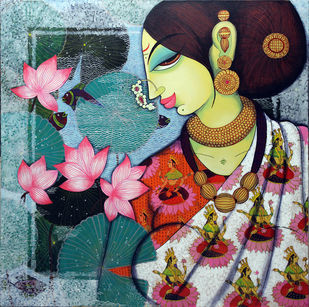 Lakshmi.. by Varsha Kharatmal, Decorative Painting, Acrylic on Canvas, Brown color