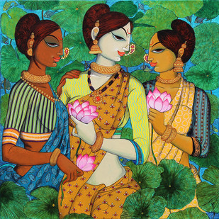 Friends with lotus.. by Varsha Kharatmal, Expressionism Painting, Acrylic on Canvas, Green color