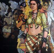 Beauty's.. by Ramchandra Kharatmal, Expressionism Painting, Acrylic on Canvas, Brown color