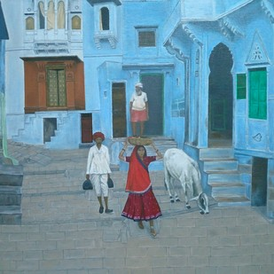 Indian Culture by Nilofar, Impressionism Painting, Oil on Canvas, Green color
