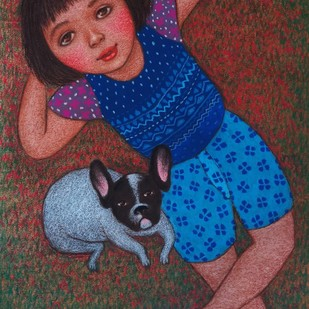 Day dreaming by Meena Laishram, Expressionism Painting, Dry Pastel on Paper, Brown color