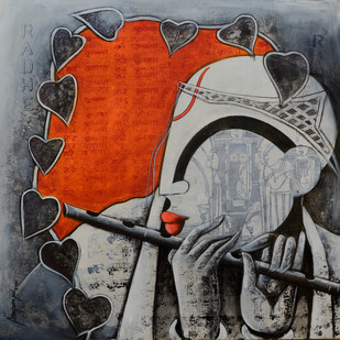 tunes of devotion by anupam pal, Decorative Painting, Acrylic on Canvas, Gray color