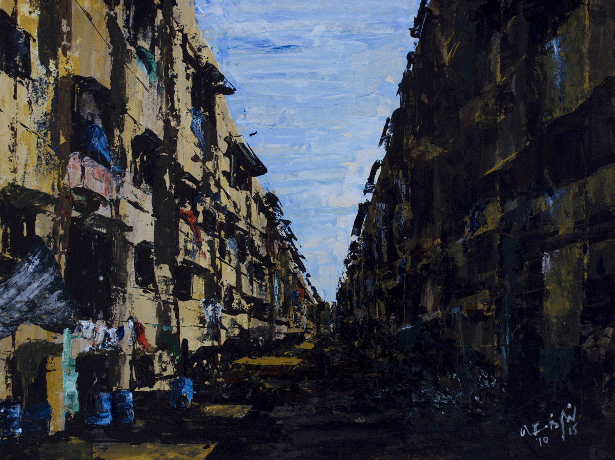 CHAWL LIFE by senthil kumar, Expressionism Painting, Acrylic on Paper, Black color