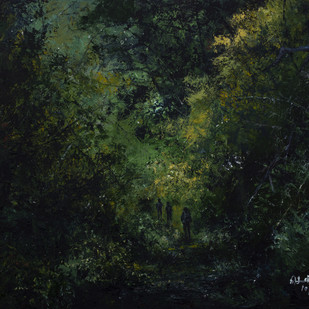 LOST IN THE WOODS by senthil kumar, Impressionism Painting, Acrylic on Canvas, Black color