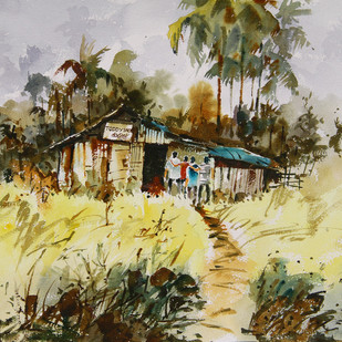 Discipline by Mopasang Valath, Impressionism Painting, Watercolor on Paper, Beige color