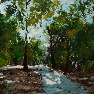 PATH by senthil kumar, Impressionism Painting, Acrylic on Paper, Green color