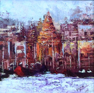 varnashi 1 by Ganesh Panda, Expressionism Painting, Acrylic on Canvas, Brown color