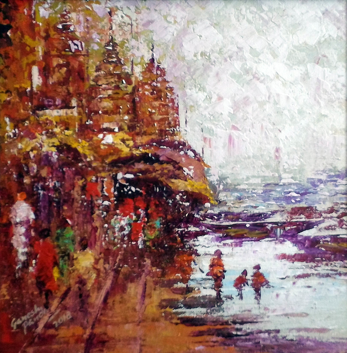 varanashi 2 by Ganesh Panda, Expressionism Painting, Acrylic on Canvas, Brown color